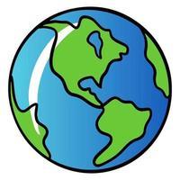 planeta. ilustração do planeta Terra. planeta com camisetas e ode. estilo de desenho animado. vetor