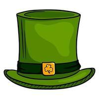 cocar de cilindro. cartola irlandesa. dia de São Patricio. estilo de desenho animado. vetor