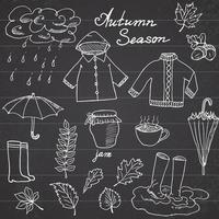 temporada de outono definir elementos de doodles. mão desenhada conjunto com guarda-chuva cuo de chá quente, chuva, botas de borracha, roupas e coleção de folhas. desenho de coleção de doodle vetor