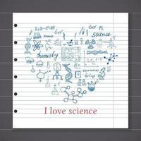elementos de química e sciense doodles conjunto de ícones. esboço desenhado à mão com microscópio, fórmulas, equipamentos de experimentos, ferramentas de análise, ilustração vetorial no fundo do quadro-negro vetor
