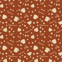 padrão de café com beens branco sobre marrom vetor