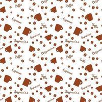 padrão de café com fundo branco beens vetor