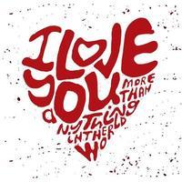 letras eu te amo vermelho vetor