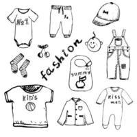 esboçar roupas de bebê isoladas vetor
