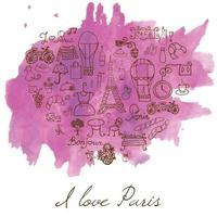 paris amor coração aquarela mancha no papel vetor