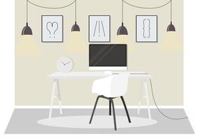 Vetorial, escritório, sala, ilustração vetor