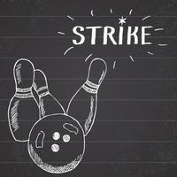 bola de boliche do esporte e pinos itens de esportes esboço desenhado à mão. desenhando elementos de doodles com sinal de greve no fundo do quadro-negro vetor