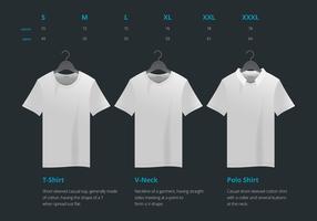 T-shirt vector realista com tamanho mock up ilustração