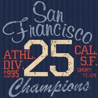 design de impressão de camisetas, gráficos de tipografia ilustração vetorial de verão distintivo apliques rótulo san francisco esporte sinal vetor
