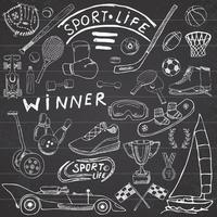 esporte vida esboço doodles elementos. mão desenhada conjunto com taco de beisebol, luva, boliche, itens de tênis de hóquei, carro de corrida, medalha da taça, boxe, esportes de inverno. coleção de desenhos, no fundo do quadro-negro vetor