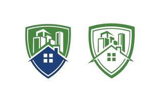 logotipo do escudo imobiliário vetor