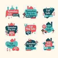 pacote colorido de venda de etiquetas eid ramadan vetor