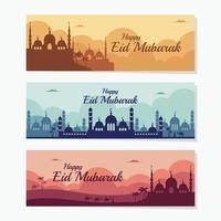 modelo de banner feliz eid mubarak vetor