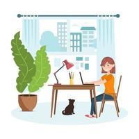 trabalhar no conceito de design de casa. mulher freelancer está sentada na sala de estar em uma mesa de trabalho com um laptop. ilustração vetorial. vetor