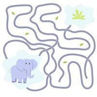jogo de elefante preguiçoso. labirinto. animal safari vetor