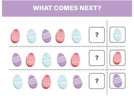 ovos de Páscoa. o que vem depois. educação para crianças. jogo preguiçoso vetor