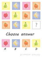 escolha a resposta. jogo de criança de frutas. jogo preguiçoso vetor