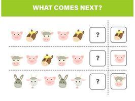 o que vem depois. jogo infantil de animais de fazenda vetor