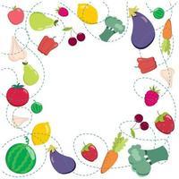 fundo de frutas e vegetais. ilustração vetorial. conceito de comida saudável vetor