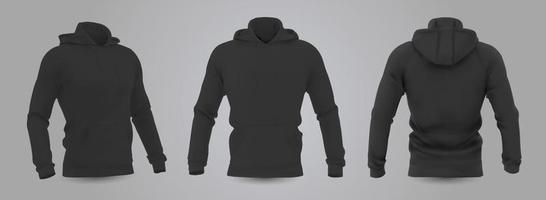 maquete de moletom com capuz dos homens negros em vista frontal, traseira e lateral, isolada em um fundo cinza. Ilustração em vetor 3D realista, moletom formal ou casual padrão.