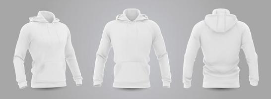 maquete de moletom com capuz dos homens brancos na vista frontal, traseira e lateral, isolada em um fundo cinza. Ilustração em vetor 3D realista, moletom formal ou casual padrão.