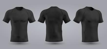 T-shirt preta de futebol com design slim com gola redonda. ilustração vetorial vetor