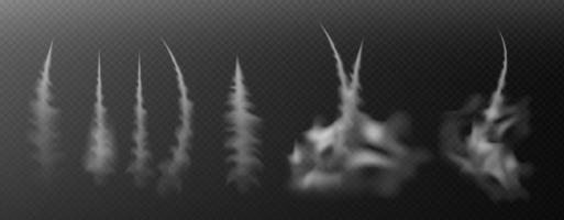 trilhas de condensação de avião. jato arrastando conjunto de vetores de fumaça isolada. jato ou avião de trilha nebulosa, efeito esfumaçado após foguete. ilustração vetorial.