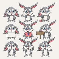 ilustração de desenho vetorial mascote de coelho fofo vetor