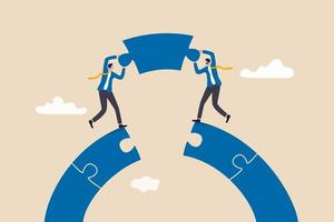 conceito de conexão de negócios, empresários trabalhando em equipe de construção conectar ponte de quebra-cabeça vetor