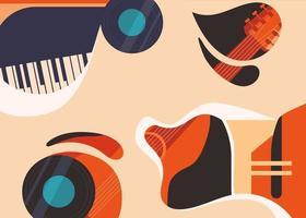 modelo de banner com guitarra e piano. vetor