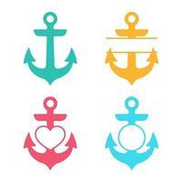 conjunto de ícones de silhueta de âncora vetor