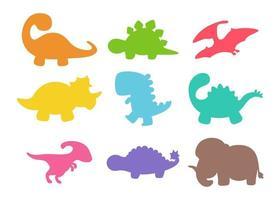 conjunto de silhueta de bebê dinossauro em branco vetor
