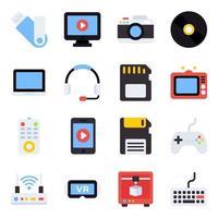 pacote de ícones planos de tecnologia digital vetor