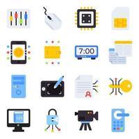 pacote de ícones planos de tecnologia vetor