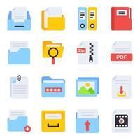 pacote de ícones planos de página de arquivo vetor