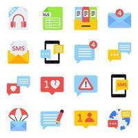 pacote de ícones planos de comunicação vetor