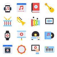 pacote de ícones planos de instrumentos musicais vetor