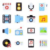 pacote de ícones lisos de música vetor