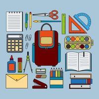 conjunto de artigos de papelaria para escritório e escola isolado em fundo azul vetor