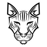 arte de linha preto e branco da cabeça do gato. bom uso de símbolo, mascote, ícone, avatar, tatuagem, design de camiseta, logotipo ou qualquer design que você quiser. vetor