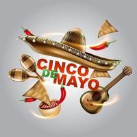 feriado mexicano de cinco de mayo. chapéu sombrero, maracas e tacos e comida festiva. ilustração vetorial. vetor