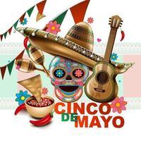 feriado mexicano de cinco de mayo. chapéu sombrero, maracas e tacos e comida festiva com as cores da bandeira do méxico. ilustração vetorial. vetor