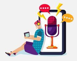 jovem ouvindo ilustração de podcast em estilo simples vetor