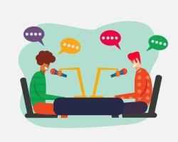 ilustração do conceito de colaboração de podcast em estilo simples vetor