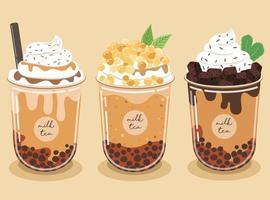 O jogo de chá de leite pérola contém brownies de chocolate e chantilly com calda de caramelo em um fundo pastel. vetor