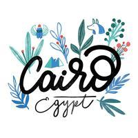 Aquarela letras Cairo Egito com folhas vetor