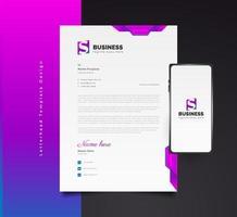 design de modelo de papel timbrado empresarial moderno em conceito futurista colorido com smartphone ao lado vetor