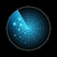 radar hud com alvos em ação. sistema de busca militar, ilustração vetorial vetor