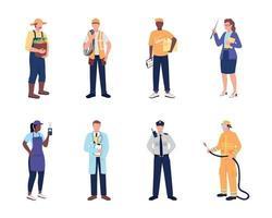 conjunto de caracteres sem rosto de vetor de cor plana de trabalhador essencial
