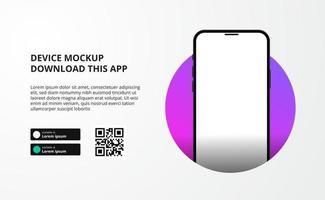 publicidade de banner de página de destino para download de aplicativo para celular, maquete de dispositivo de smartphone 3D. botões de download com modelo de código QR de digitalização. vetor
